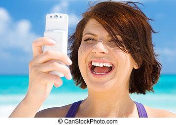 電話の女性, 浜, 幸せ