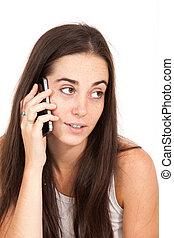 電話の女性, 若い, かなり, 肖像画