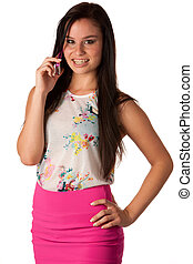 電話の女性, 若い