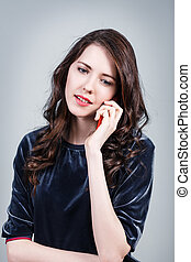 電話の女性, 話す, 幸せ