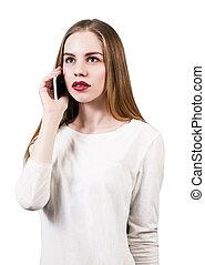 電話の女性, 話す, 若い