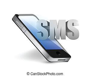 電話メッセージ, 概念, sms, イラスト