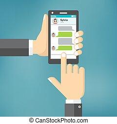 電話メッセージ, template., 手を持つ