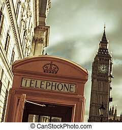 電話亭, 以及, the, 大本鐘, 在, 倫敦, 英國, 由于