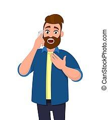 電話, あごひげを生やしている, 保有物, expression., モビール, ひどく, 胸, 衝撃を与えられた, 手, 細胞, 聞かれた, 間, 何か, 美顔術, 話し, ニュース, ショッキングである, 彼, 電話, 話すこと, 人