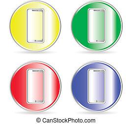 電話, アイコン, ボタン