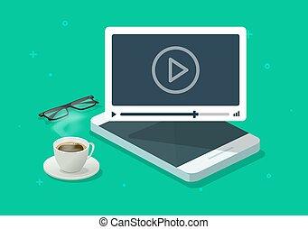 電話, イラスト, 現代, 網, 平ら, 監視, ベクトル, フィルム, 遊び, モビール, webinar, 等大, ∥あるいは∥, 机, コース, オンラインで, 映画, チュートリアル, 仕事, smartphone, 漫画, 概念, ビデオ, デザイン