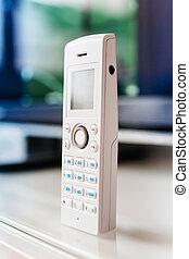 電話, コードレス, オフィス, テーブル