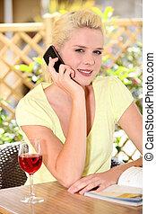 電話, コーヒー, 女, ブロンド, 部屋