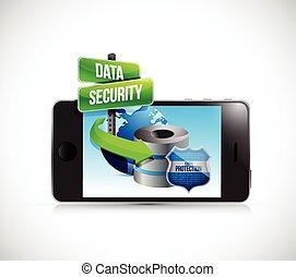 電話, セキュリティー, データ, 保護, サーバー