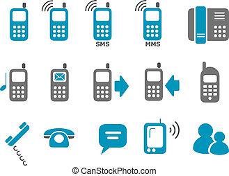電話, セット, アイコン