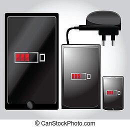 電話, タブレット, 充電器, モビール