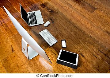 電話, テーブル, (, 痛みなさい, コンピュータ, 3, 木, タブレット