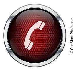 電話, ハチの巣, 赤, アイコン