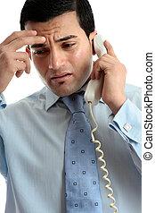 電話, ビジネスマン, 人, 強調された, 憂うつにされた