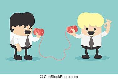 電話, ビジネスマン, 話し
