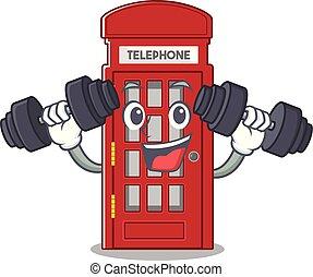 電話, フィットネス, 形, ブース, 特徴, マスコット
