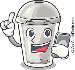 電話, プラスチック, 漫画, 形態, カップ