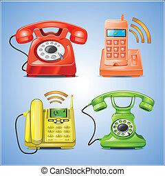 電話, ベクトル, カラフルである, アイコン