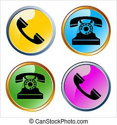 電話, ベクトル, グロッシー, アイコン