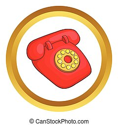 電話, ベクトル, レトロ, 赤, アイコン