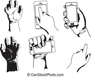 電話, ベクトル, 手を持つ