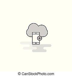 電話, ベクトル, 線, 痛みなさい, 満たされた, icon., アイコン, 網, グレーの雲, 平ら