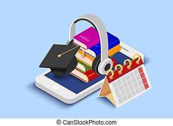電話, ベクトル, 頭, 痛みなさい, 電話, e-learning., 抽象的, cap., 本, 学生, ...