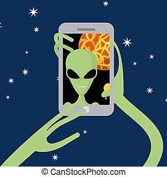 電話, ベクトル, selfie, planet., space., 彼自身, 外国人, 撃つ, に対して, 背景, ...