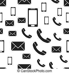 電話, メール, smartphone, seamless, pattern., ビジネス 概念, コミュニケーション, pictogram., ベクトル, イラスト, 白, バックグラウンド。