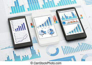 電話, モビール, analytics