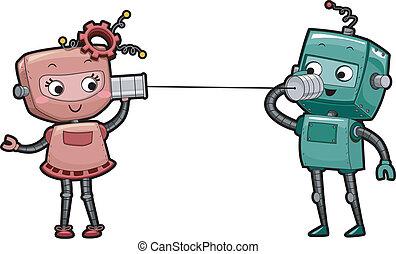 電話, ロボット, 缶
