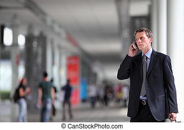 電話, 人, ビジネス, 群集, 話し
