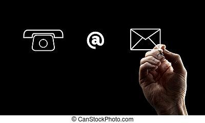 電話, 以標志, 以及, 信封, 圖象