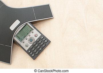 電話, 会議, 装置, 上に, a, 木製である, オフィス机, そして, から, 平面図