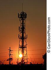 電話, 傍晚, antenna.