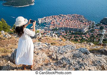 電話, 写真, 旅行者, 取得, dubrovnik
