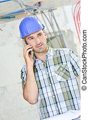 電話, 労働者, 若い