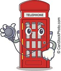 電話, 医者, ブース, 形, 特徴, マスコット