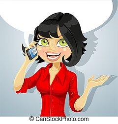 電話, 女の子, ブルネット, 話し