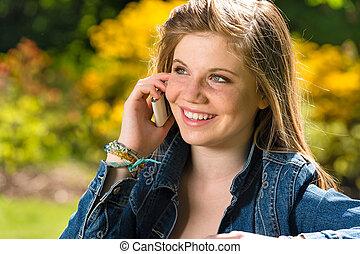 電話, 女の子, 若い, かなり, 話し