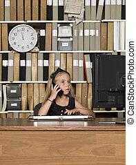 電話, 女の子, 若い, ビジネス