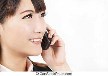 電話, 女性実業家, クローズアップ, 若い, 話し