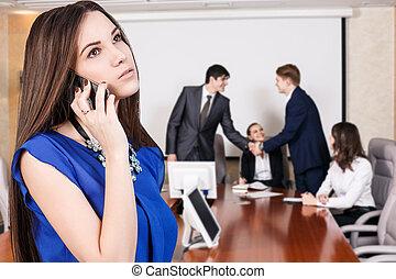 電話, 女, ビジネス, 話す