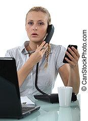 電話, 工人, 二, 辦公室
