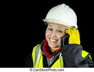 電話, 建築者, 女性, 幸せ