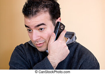 電話, 彼の, 人