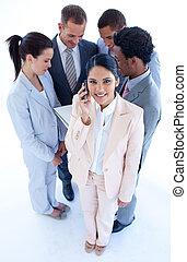 電話, 彼女, チーム, 女性実業家, 高く, 前部, 角度