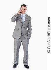 電話, 微笑, ビジネスマン