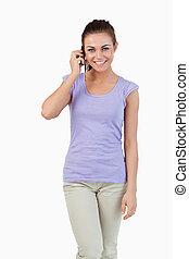 電話, 微笑, 女性, 若い